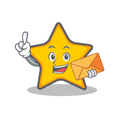 star character cartoon style with envelope