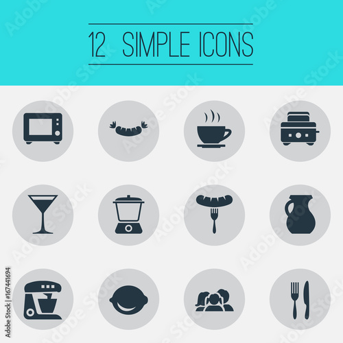 Vector Illustration Set Of Simple Kitchen Icons Elements Utencil