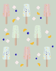 Ice cream candy sticks Vector illustration. Summer template banner