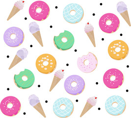 Donuts and Ice cream pattern Vector dessert flavored illustration