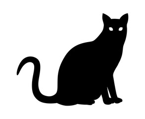 Black domestic house cat sitting flat vector icon for animal apps and websites