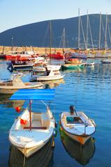 Small boats in port of Herceg Novi