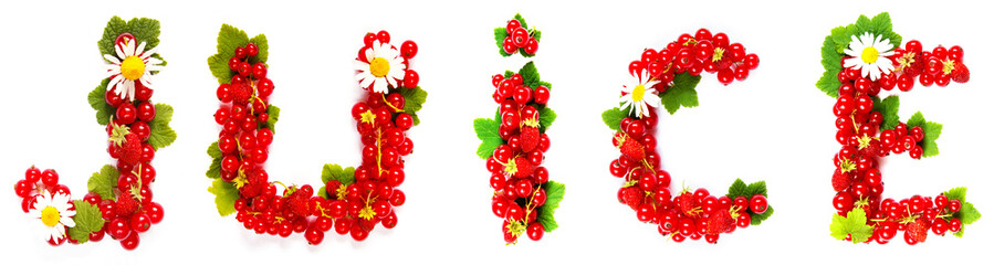word juice is made up of red currant berries, green leaves and daisy flowers on a white background isolate, the concept of a healthy diet