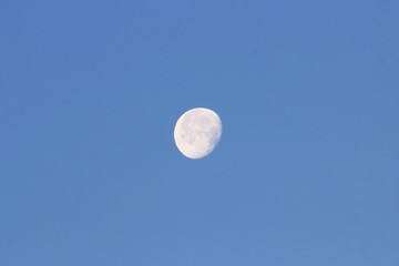 Waning Moon early in the morning on a blue sky.