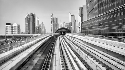 Black and white picture of Dubai city, United Arab Emirates.