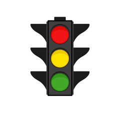 Traffic light on white background, vector illustration