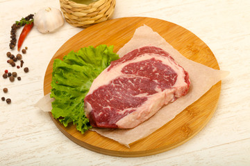 Rib eye raw steak