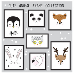 Cute animal hand drawn frame collection set in vector