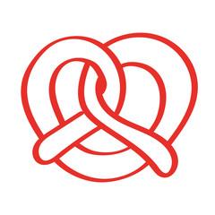 Handgezeichnete Brezel in rot