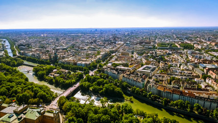 Aerial View Flying By Over Munich Cityscape Landmarks in Germany