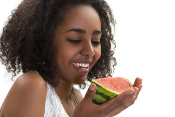 African girl with watermelon