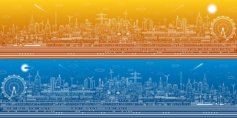 Day and night city panorama, town infrastructure illustration, ferris wheel, modern skyline, white lines on blue background, vector design art