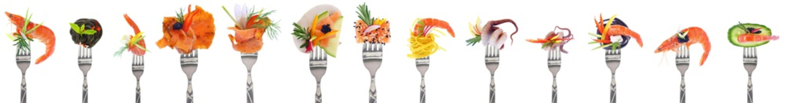 Variety of seafood starters - white background