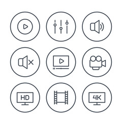 video player line icons on white