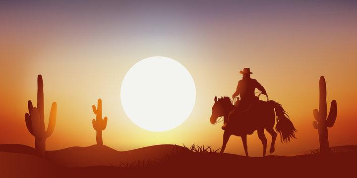 cow-boy - coucher de soleil - cheval - paysage, western, désert - cactus