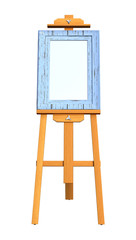 3D Rendering Art Frame on Wooden Easel on White