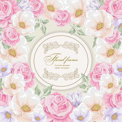 Greeting card with bouquet flowers for wedding, birthday and other holidays. Floral round frame for text. Vector illustration.