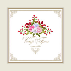 Greeting card with bouquet flowers for wedding, birthday and other holidays. Vector Floral  frame