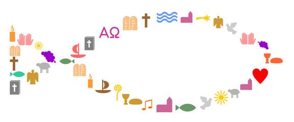 Bunte christliche Symbole bilden einen Fisch