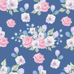 Floral seamless pattern with soft pink  bouquets of flowers.  Vector hand drawn background.