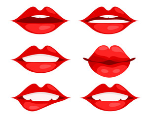 Set of red woman lips on white background, vector illustration, eps 10