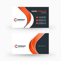 Creative and clean double-sided business card vector template. Flat design vector mockup. Stationery design