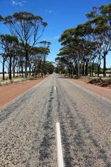 Long street in the wheatbelt region in Western Australia