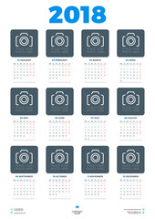 Calendar Poster Template for 2018 Year. Week starts Monday. Stationery Design. Vector Calendar with Place for Photo on White Background