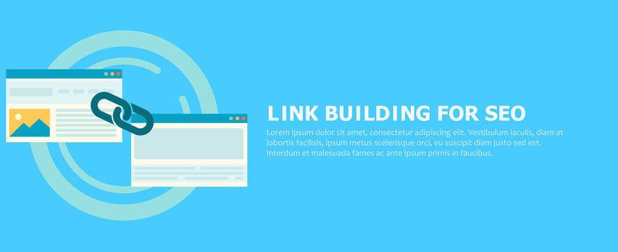 Link building for seo banner. Two pages are connected by a chain