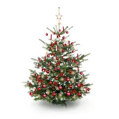 Rot Geschmückter Weihnachtsbaum
