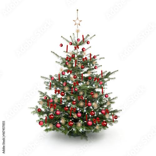 Weihnachtsbaum rot strohsterne