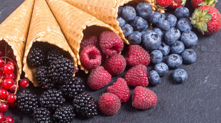 Berries in ice cream cone