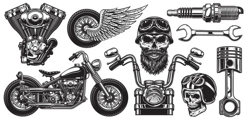 Set of monochrome motorcycle elements. Isolated on white background Papier Peint