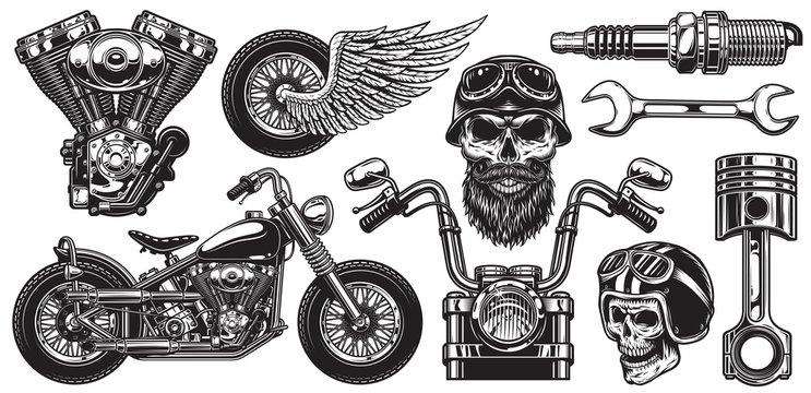 Set of monochrome motorcycle elements. Isolated on white background
