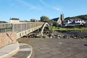 Pedestrian footbridge at Aberaeron, Ceredigion, Wales, UK