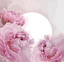 Pink peony flowers background with a round label