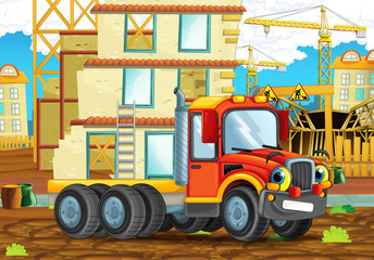 cartoon scene of a construction site with heavy truck - illustration for children