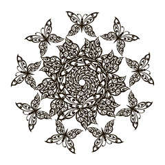 Flower Mandala with decorative butterflies for anti-stress Coloring