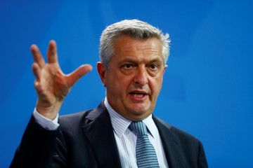 U.N. High Commissioner for Refugees (UNHCR) Filippo Grandi addresses a news conference at the Chancellery in Berlin