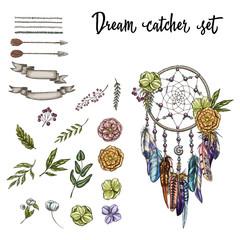 Set of hand drawn ornate Dreamcatcher, flowers and various design elements isolated on white background. Vector Illustration