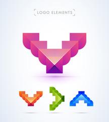 Abstract letter V, A, arrow logo design set. Deer icon