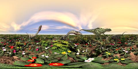 360 Grad Panorama mit den Dinosauriern Yangchuanosaurus und  Coelophysis