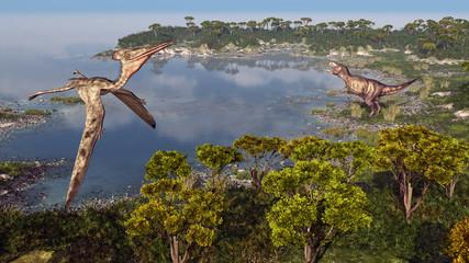 Flugsaurier Pterodactylus und Dinosaurier Tyrannosaurus Rex