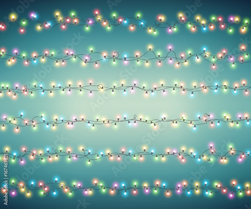 Christmas Fairy Lights Illustration.Fairy Lights For Festive Decoration Realistic Luminous