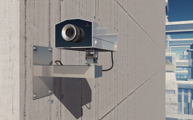 Überwachungskamera an einer Häuserwand