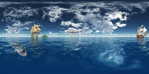 360 Grad Panorama mit Segelschiffen und Fantasie Luftschiff
