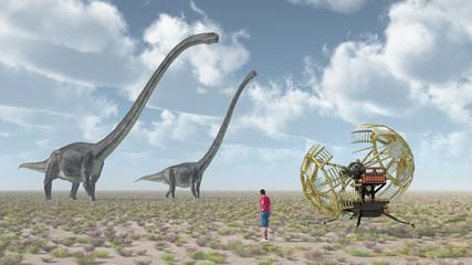 Zeitreisender, Zeitmaschine und der Dinosaurier Omeisaurus