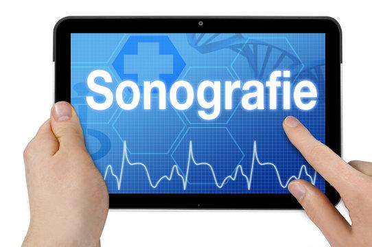 Tablet mit Touchscreen Sonografie