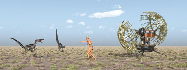 Zeitmaschine, Frau und Dinosaurier