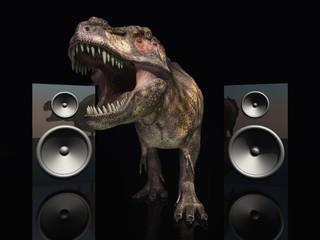 Lautsprecherboxen und Tyrannosaurus Rex